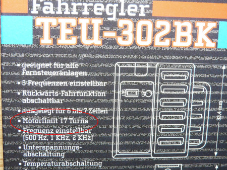 Tamiya TEU-302BK Electronic Speed Controller German Specifications